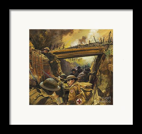 Soldier Framed Print featuring the painting The Trenches by Andrew Howat