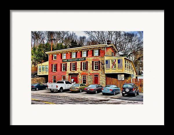 Ellicott Framed Print featuring the digital art The Trolley Stop by Stephen Younts