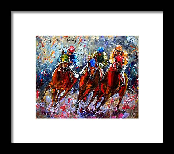 Horses Framed Print featuring the painting The Turn 2 by Debra Hurd