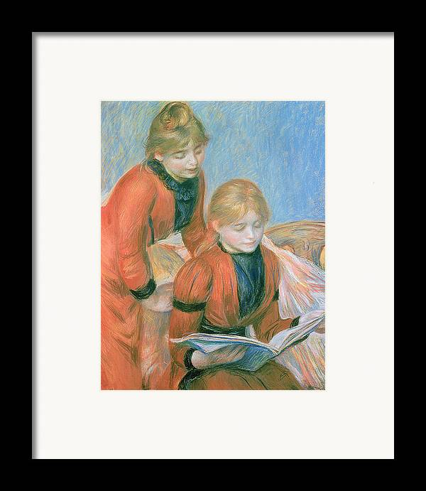 The Framed Print featuring the pastel The Two Sisters by Pierre Auguste Renoir