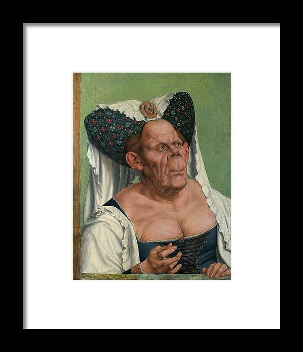 Beautiful Framed Print featuring the painting The Ugly Duchess, By Quentin Matsys by Quentin Matsys