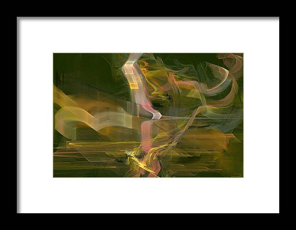 Abstract Framed Print featuring the painting The Uncertainty by Emma Alvarez