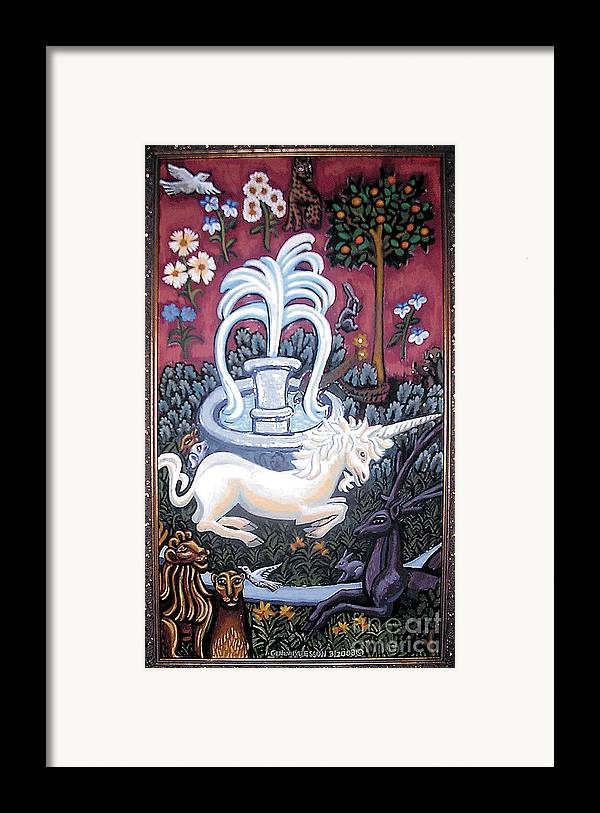 Unicorn Tapestries Framed Print featuring the painting The Unicorn And Garden by Genevieve Esson