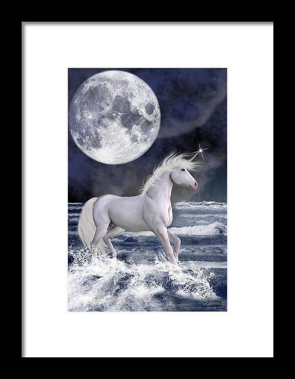 Unicorn Framed Print featuring the painting The Unicorn Under The Moon by Emma Alvarez