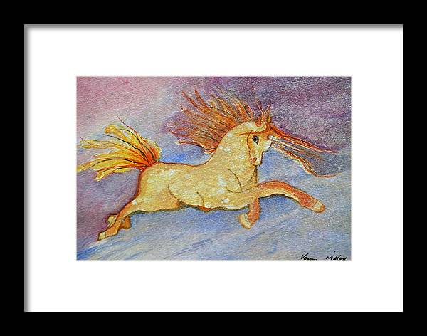 Mystical Framed Print featuring the painting The Unicorn by Veron Miller