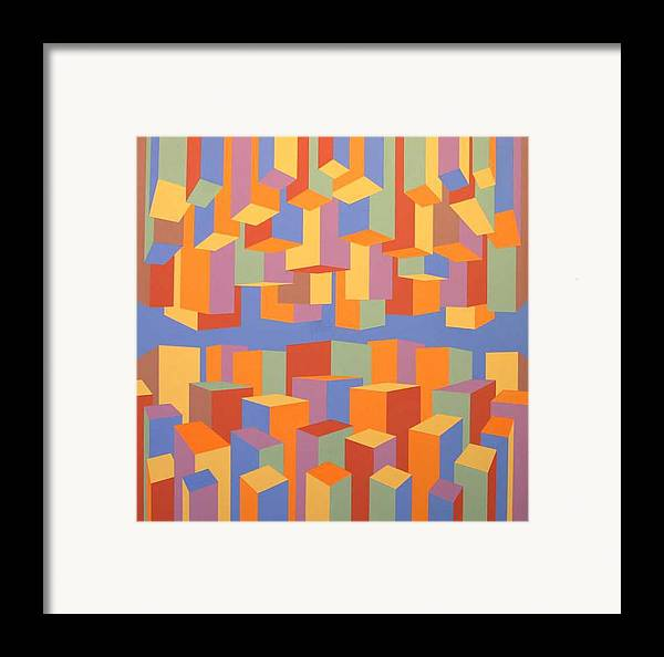 Abstract Framed Print featuring the painting The Upside Of Down by M Jaquis