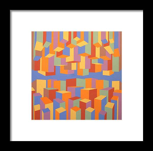 Abstract Framed Print featuring the painting The Upside Of Down by Marston A Jaquis