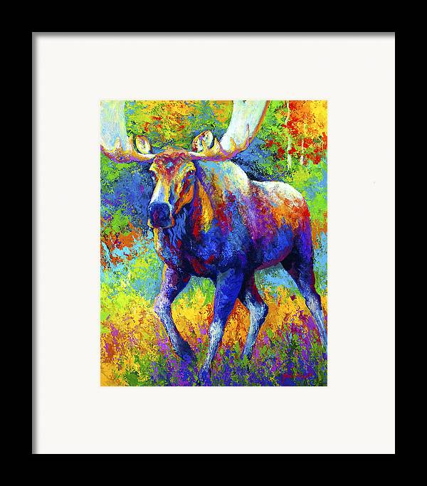 Moose Framed Print featuring the painting The Urge To Merge - Bull Moose by Marion Rose