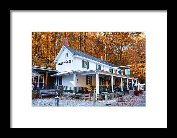 Valley Green Framed Print featuring the photograph The Valley Green Inn In Autumn by Bill Cannon