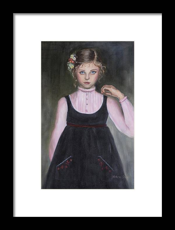 Portrati Framed Print featuring the painting The Velvet Jumper by Victoria Shea