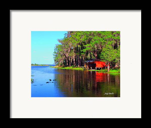 Lake Framed Print featuring the photograph The View From The Bench by Judy Waller