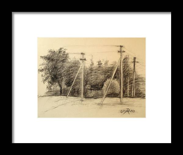 Drawing Framed Print featuring the drawing The view of the village by Raimonda Jatkeviciute-Kasparaviciene
