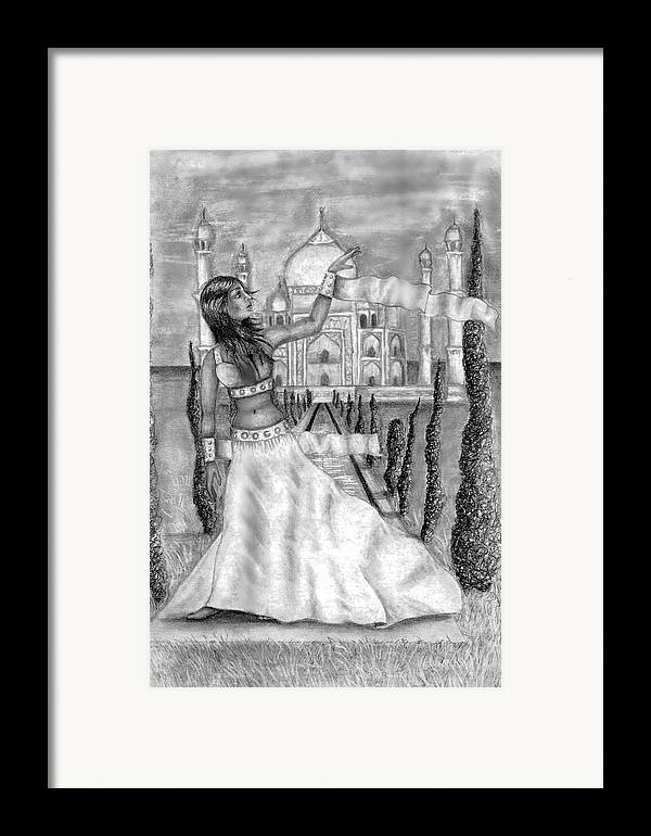 Taj Mahal Framed Print featuring the drawing The View by Scarlett Royal
