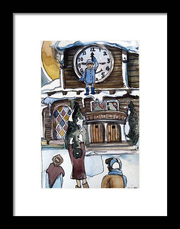Children Framed Print featuring the painting The Village Clock by Mindy Newman