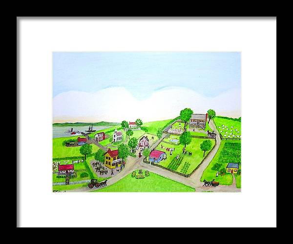 Australia Framed Print featuring the painting The Village - Colonial Style Art by Fran Caldwell