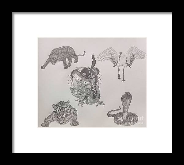 Pencil Framed Print featuring the drawing The Village by KS Designs