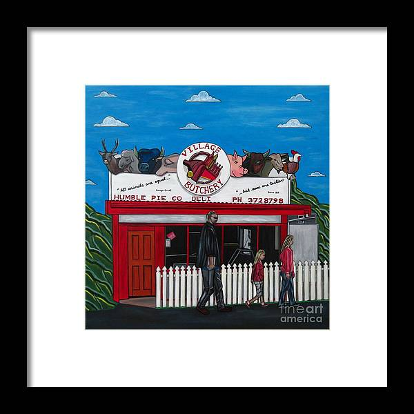 Buildings Framed Print featuring the painting The Village by Sandra Marie Adams