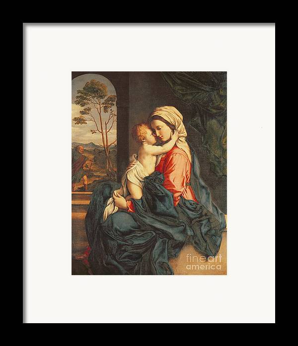 The Framed Print featuring the painting The Virgin And Child Embracing by Giovanni Battista Salvi