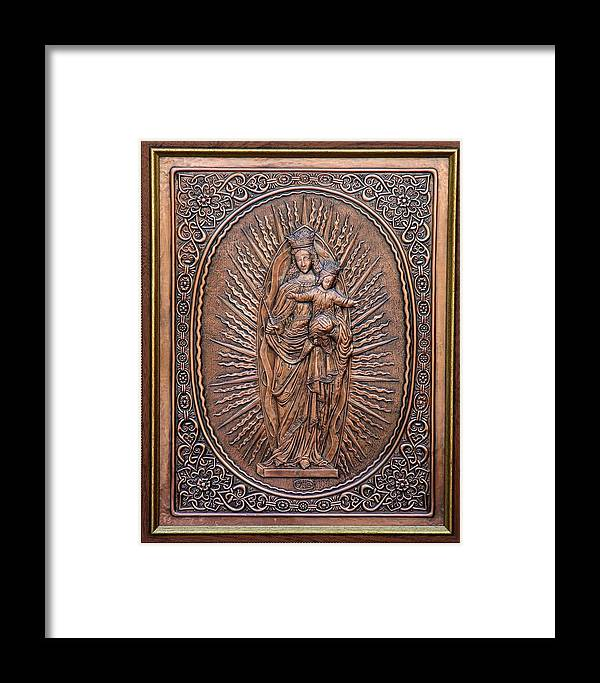 Reliefs Framed Print featuring the relief The Virgin Mary With Jesus Christ by Netka Dimoska