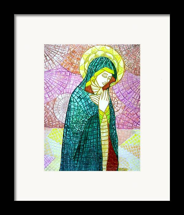 Framed Print featuring the mixed media The Virgin by Victor Madero