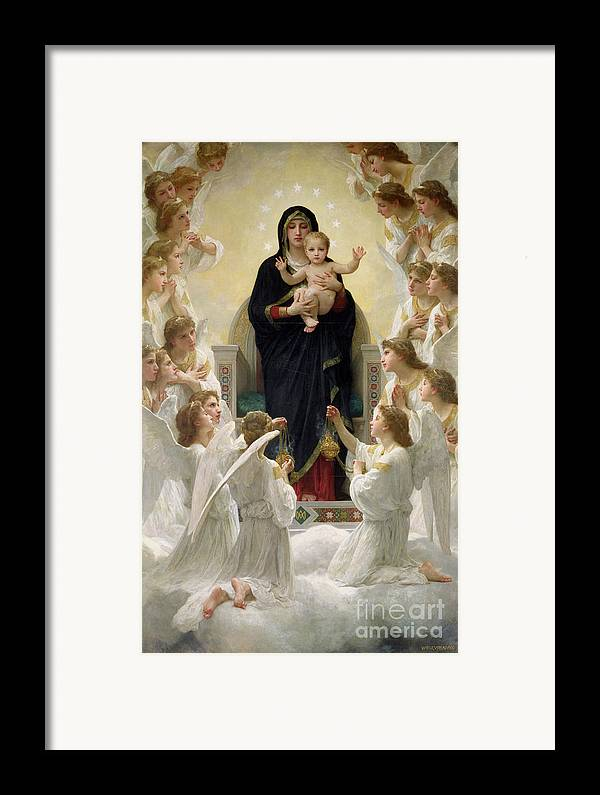The Framed Print featuring the painting The Virgin With Angels by William-Adolphe Bouguereau