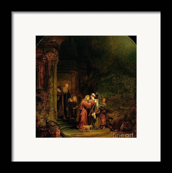 The Framed Print featuring the painting The Visitation by Rembrandt Harmensz van Rijn