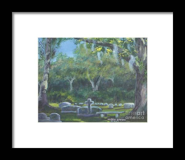 Landscape Cemetary Ghost Tree Florida Orlando Greenwood Framed Print featuring the painting The Visitor 75usd by Karen Bowden