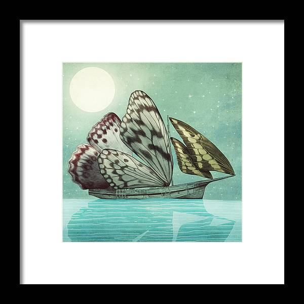 Butterfly Framed Print featuring the drawing The Voyage by Eric Fan