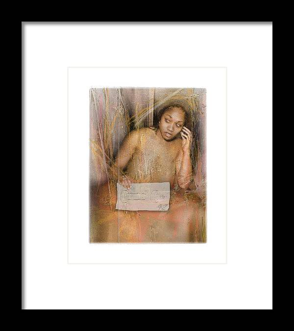 Portrait Framed Print featuring the digital art The Wading by Nuff