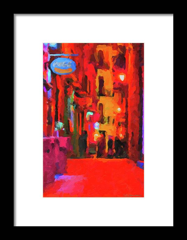 'the Walkabouts' By Serge Averbukh Framed Print featuring the digital art The Walkabouts - Spanish Red Moon Stroll by Serge Averbukh