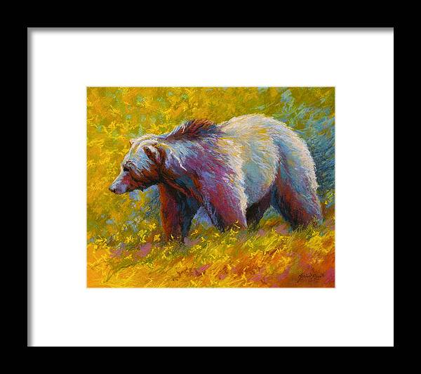 Western Framed Print featuring the painting The Wandering One - Grizzly Bear by Marion Rose