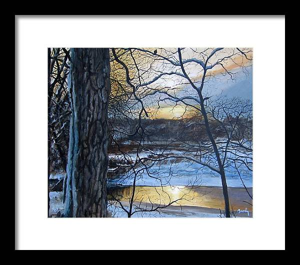 Landscape Framed Print featuring the painting The Watcher by William Brody