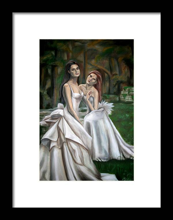 Women Framed Print featuring the painting The Watchers by Maryn Crawford