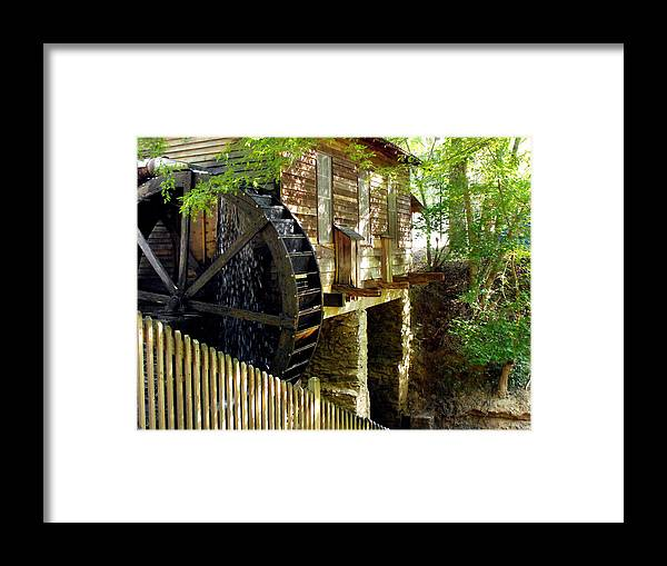 Cabin Framed Print featuring the photograph The Water Wheel by Eva Thomas