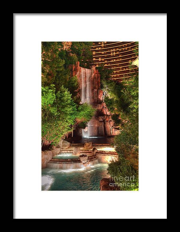 Waterfall Framed Print featuring the photograph The Waterfall At The Wynn Resort by Eddie Yerkish