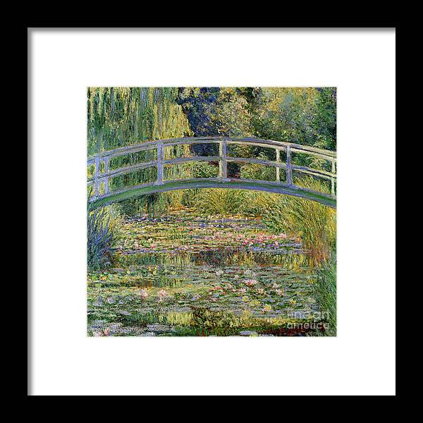 The Framed Print featuring the painting The Waterlily Pond with the Japanese Bridge by Claude Monet