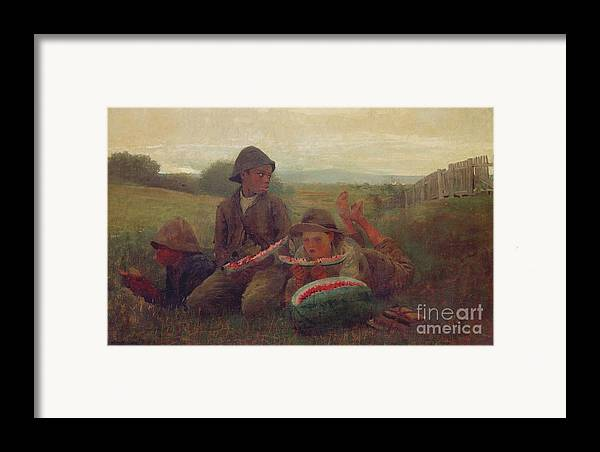 Children Framed Print featuring the painting The Watermelon Boys by Winslow Homer