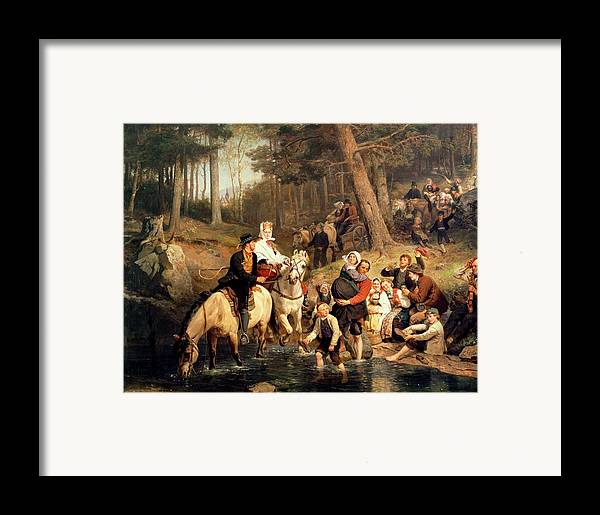 The Wedding Trek Framed Print featuring the painting The Wedding Trek by Adolphe Tidemand