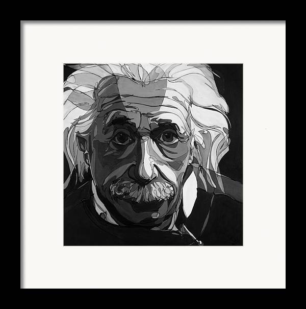 Albert Einstein Framed Print featuring the painting The Weight Of Genius by John Gibbs