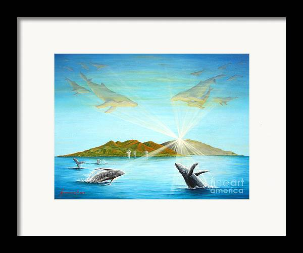Whales Framed Print featuring the painting The Whales Of Maui by Jerome Stumphauzer