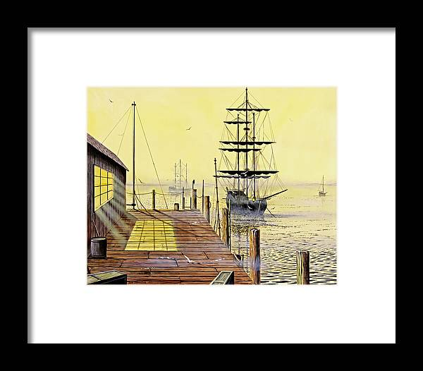 Water Framed Print featuring the painting The Wharf by Don Griffiths