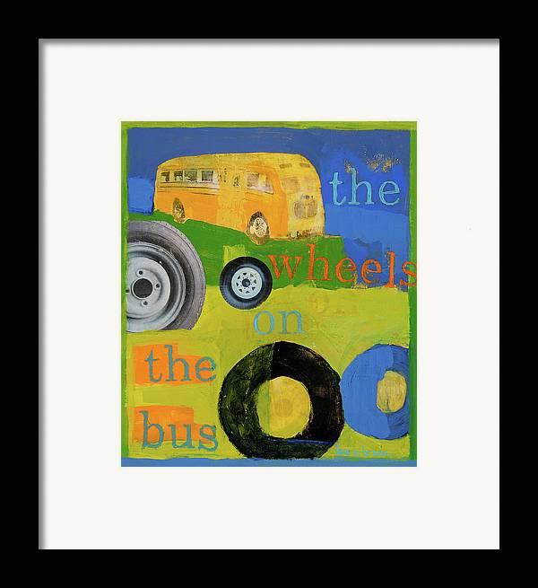 Bus Painting Framed Print featuring the painting The Wheels On The Bus by Laurie Breen