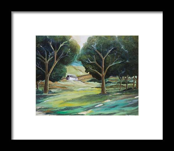 Farm Framed Print featuring the painting The White Barn by Jun Jamosmos