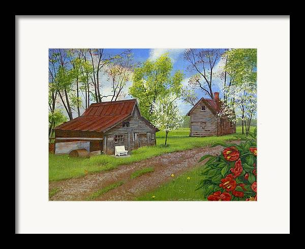 Landscape Framed Print featuring the painting The White Bench by Peter Muzyka