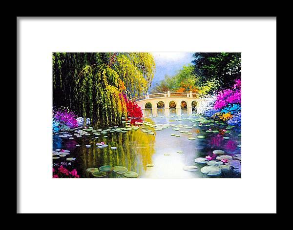 Azaleas In Bloom Framed Print featuring the digital art The White Bridge by Jeanene Stein