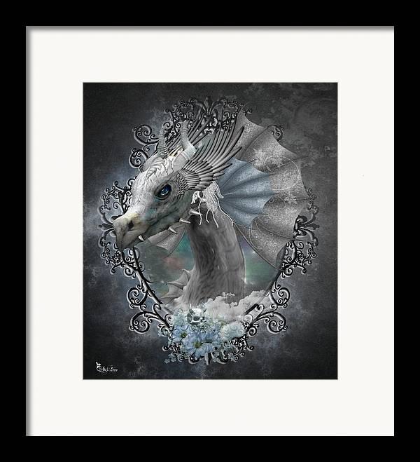 Ali Oppy Framed Print featuring the digital art The White Dragon by Ali Oppy