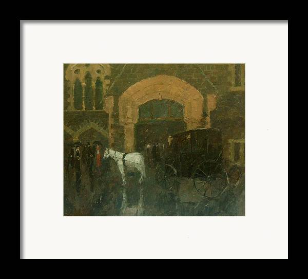 Horse Framed Print featuring the painting The White Horse. by Malcolm Mason