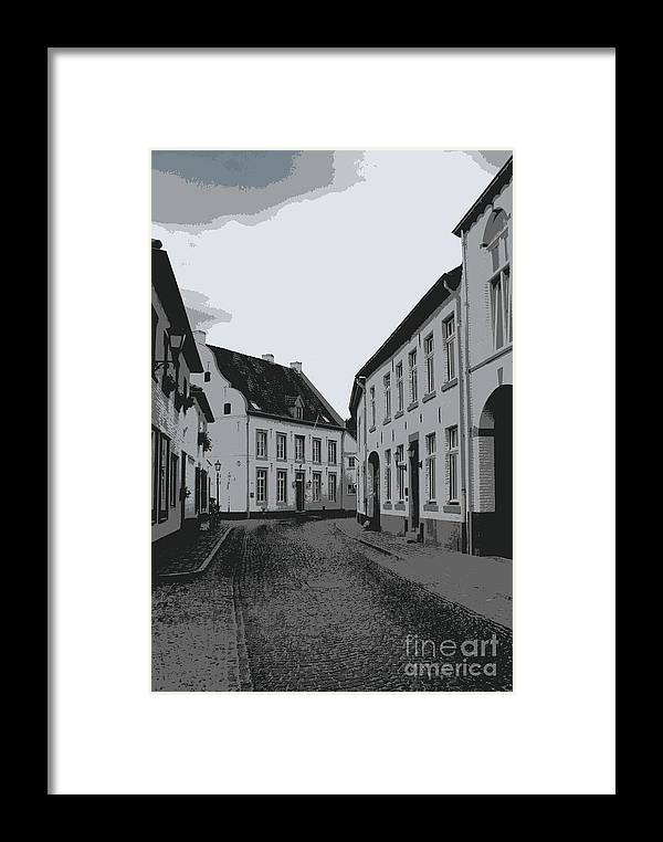 Gray And White Framed Print featuring the photograph The White Village - Digital by Carol Groenen