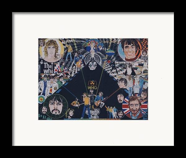 Pete Townshend;roger Daltrey;john Entwistle;keith Moon;quadrophenia;opera;story;four;music;guitars;lasers;mods;rockers;london;brighton;1964 Framed Print featuring the drawing The Who - Quadrophenia by Sean Connolly