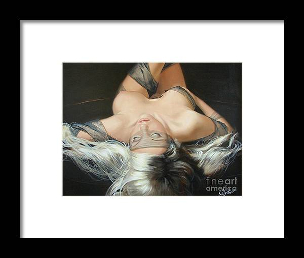 Art Framed Print featuring the painting The widow by Sergey Ignatenko